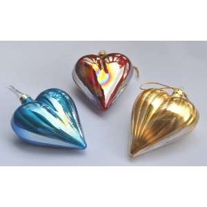 Christmas Ornament Set of Three Hand crafted Heart for