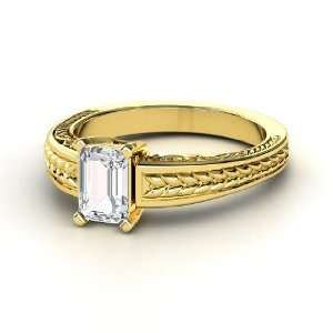 Emerald Cut Ceres Ring, Emerald Cut White Sapphire 14K Yellow Gold