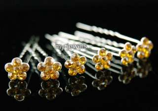 pcsX Bridal Gold Amber Flower Crystal Hair Pins P1133