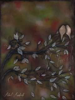 WHIMSICAL TREE birds contemporary abril ART ebsq 18x24 MODERN