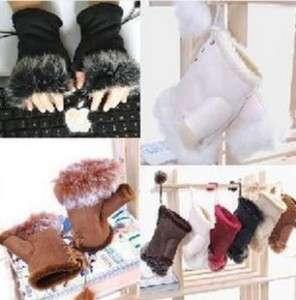 Winter Rabbit Fur Suede Fingerless Gloves hand warmer