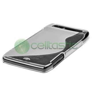 Clear S Shape TPU Case+Privacy Film Protector for Motorola Droid Razr