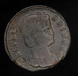 Roman Galeria Valeria Bronze Follis coin 305 311 AD
