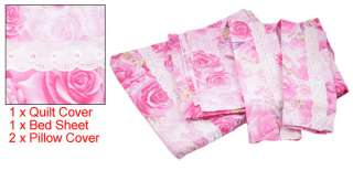Pink Flower Pillow Quilt Cover Protector Bedding Set