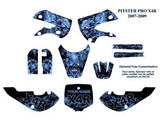 Pitster Pro X4R 2007 09 MX Bike Decal Kit Blue Zombie