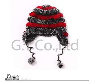 0259 Real rex rabbit fur hat hats cap headgear headdress women for