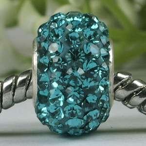 Swarovski Crystal 925 Silver Charm Bead (Blue Zircon)