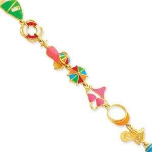 14k Multi Color Enamel Beach Theme Bracelet Length 7.25