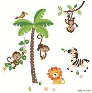 Nursery Wall Sticker Decals   Jungle Monkeys & Palm Tree, Lion, Zebra