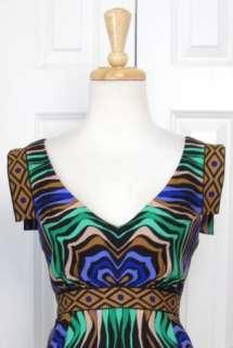Anthropologie TIBI Multi Print Cap Sleeve Silk Dress 6 S/M