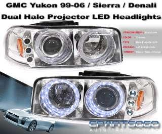 2000 2006 GMC SIERRA 1500 2500 YUKON XL LED ANGEL EYES HEADLIGHTS