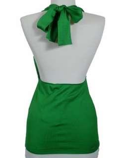 NWT $1298 Ralph Lauren PURPLE LABEL XL Green Silk Halter Top NEW