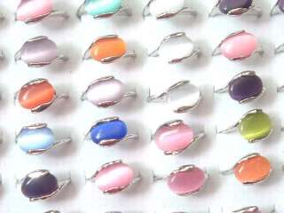 100pcs mix colors cats eye & white gold plating rings