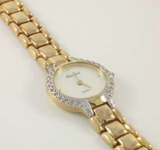 Lucien Piccard 14k Gold Ladies Diamond Pearl Dial Watch