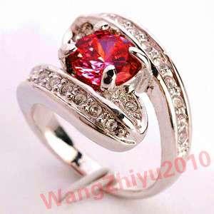 Natural Ruby&Swarovski Crystal 14k White Gold Ring GP