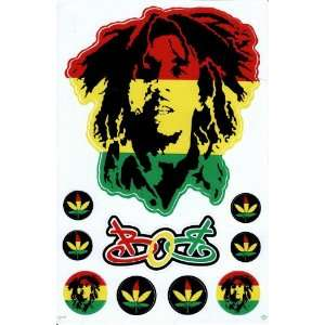 Bob Marley One Love Reggae Decal Sticker Sheet X29