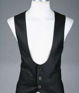 Mens 2011 NEW Korean fashion casual Black Vest 2817