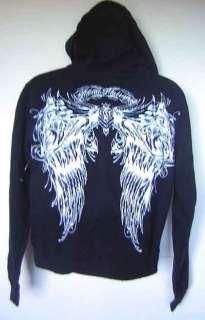 Metal Mulisha White Angel Wings Script Name Pullover Black Hoodie