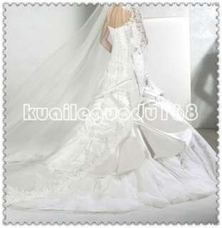 line white satin applique sleeves wedding bridal dress lace up
