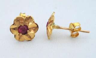 ETHNIC TRIBAL 18 CARAT OLD GOLD EARRING STUD PAIR INDIA