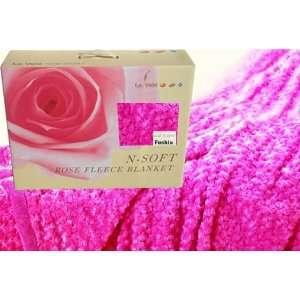 com Best Quality VeRose Effect Fleece Soft Throw Blanket FUCHSIA Full