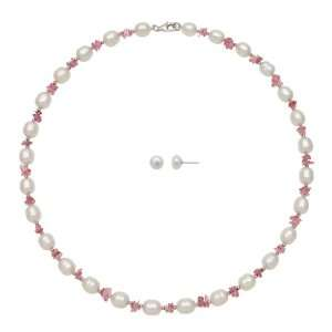 Freshwater Pearl white 6 6.5/7 8mm And Pink Tourmaline Necklace Stud