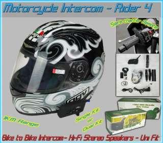 Motorcycle Helmet Intercom Headset 1km Dual Kit 2pc w/ Remote Control