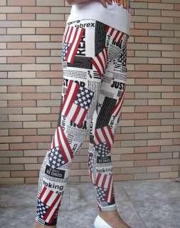 New USA Flag Leggings Tight Women Rock Stretchy Pants