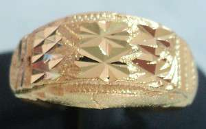 BEAUTIFUL LASER CUT REAL 24K YELLOW GOLD PLATED BRASS SIGNET RING