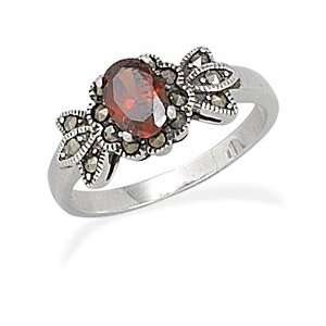 Red CZ Marcasite Ring Oval Red Cz Ring With Marcasite Accents   Size 8