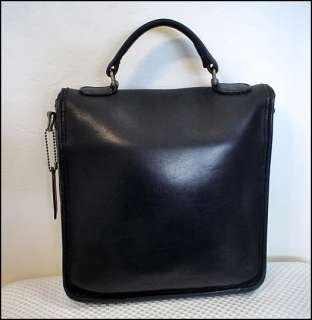COACH Vintage 80s STATION Black Leather SATCHEL BAG Purse Handbag