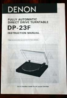 Denon DP 23F DP23F Turntable Owners Manual*Original*