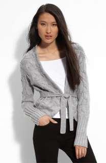 NEW* BCBG Lt Heather Cable Knit Wrap Cardigan L $238