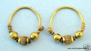 23k VINTAGE ANTIQUE TRIBAL OLD GOLD HOOP EARRINGS