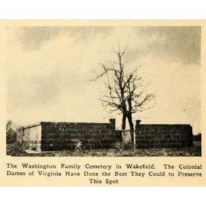 1923 Print Washington Family Cemetery Wakefield Plot