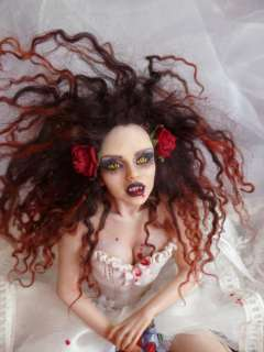 EMO FANTASY GOTHIC VAMPIRE OOAK FAIRY ART DOLL SCULPTURE BY KIM