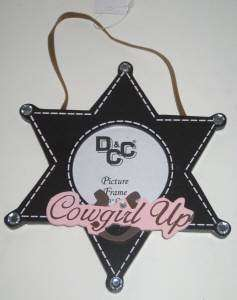 Cowgirl Up Hanging Star Shape Photo Frame Holds 3x3 Photo Wood NWT