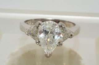 26CT 3 STONE PEAR CUT DIAMOND ENGAGEMENT RING PLATINUM VS SIZE 5.75