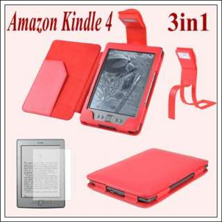3in1 Red Leather Case Cover With Reading Light+Free Film for