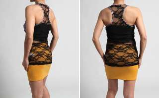 Print LACE Back TANK Chest Pocket Racerback Sleeveless TOP