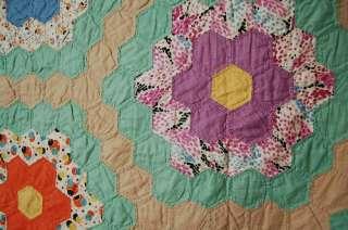 Large Vintage 30s Flower Garden Hand Stitched Hexagon Antique Quilt