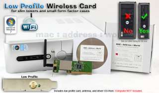 Dell Inspiron 560s 580s 620s Low Profile PCI Wireless Card Wifi SFF