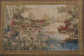 Aubusson Tapestry, Lotus Pond, Wool, Full Backing, Easy Hang
