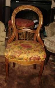 ANTIQUE PARLOR CHAIR UPHOLSTERED CUSHION SEAT BALLOON BACK