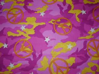 PEACE SIGN PINK CAMO NURSE & VET SCRUB TOP