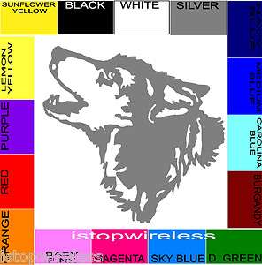 STICKER CAR TRUCK LAPTOP CHOOSE SIZE & COLOR WOLF HUSKY HOWLING HEAD