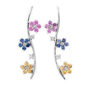 Solid 14k white gold, Diamond, Sapphire Earrings Jewelry