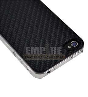 BLACK ULTRA SLIM CARBON FIBER HARD CASE COVER iPHONE 4G 4S
