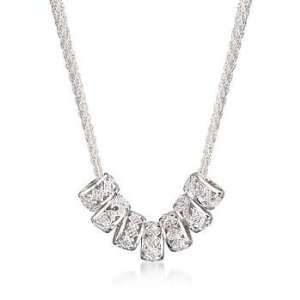 Diamond Barrel Bead Necklace In Sterling Silver Jewelry