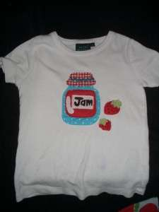 BODEN T SHIRT SKIRT OUTFIT APPLE STRAWBERRY JAM APPLIQUE 2 3 4 YRS